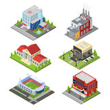 City Building Set Isometric View. Vector Stock Photography