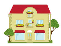 City building with a shop on the ground floor. Building with shops on the ground floor and lawn Royalty Free Stock Photo
