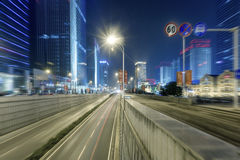 City building street scene and road surface in wuhan at night Royalty Free Stock Photography