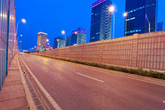 City building street scene and road tunnel of night scene Royalty Free Stock Image