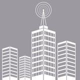 City building tower antenna transmitter Royalty Free Stock Photos