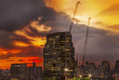 City and building under construction. Royalty Free Stock Image