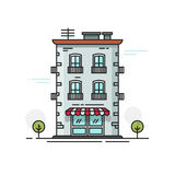 City building vector illustration flat cartoon, line outline urban architecture or construction Stock Image