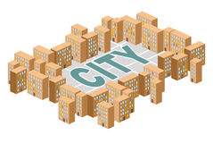 City building. Yard among the houses. Isometric building. Vector Stock Images