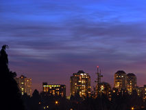 City buildings. An evening shot of some buildings in New Westminster, BC, Canada.  New Westminster belongs to the Greater Vancouver area.  I adjusted the levels Royalty Free Stock Photo