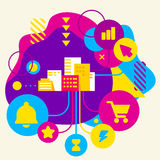 City buildings on abstract colorful spotted background with diff stock illustration