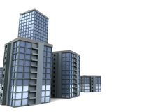 City buildings background. 3d illustration of modern city buildings over white background Stock Photography