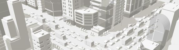 City buildings background street In light gray tones. 3d road Intersection. High detail city projection view. Cars end buildings. Top view. Vector illustration royalty free illustration