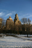 City buildings behind park. Tall city buildings by park in winter stock image