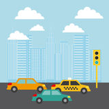 City Buildings Cars Traffic Light Clouds Image Royalty Free Stock Photos