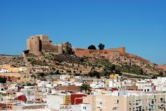 City buildings and castle, Almeria, Spain. Royalty Free Stock Image