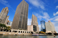 City and buildings by Chicago River. Chicago, Illinois, United States Royalty Free Stock Image