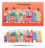City buildings communications design - vector Stock Image