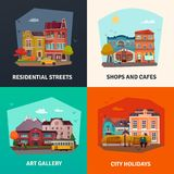 City Buildings Concept Icons Set. With environment symbols flat isolated vector illustration Stock Image