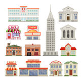 City Buildings Decorative Icons Set. With administrative and residential constructions hotel cafe and cinema  vector illustration Royalty Free Stock Photography