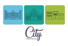 City buildings design. City buildings icons over colorful squares and white background vector illustration Royalty Free Stock Photography