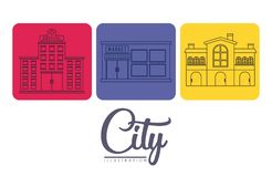 City buildings design. City buildings icons over colorful squares and white background vector illustration Stock Photography