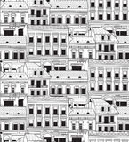 City buildings down town black and white seamless pattern. Stock Images