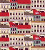 City buildings down town color seamless pattern. Royalty Free Stock Photo