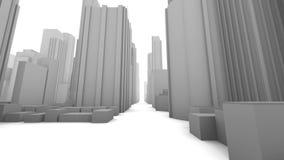 City Buildings Downtown Fly Through (Loop) ilustración del vector
