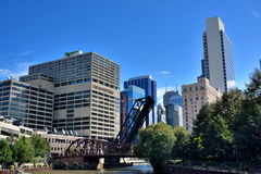 City buildings in downtown and view of Chicago river Stock Photo