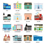 City buildings flat icons on white. Daycare and hotel, courthouse and airport, bus station and the business center. Vector illustration Stock Image