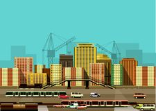 City buildings and freeway Royalty Free Stock Photo