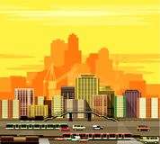 City buildings and freeway Royalty Free Stock Images