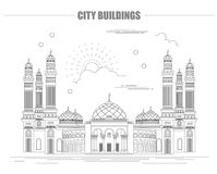 City buildings graphic template. Al Saleh mosque. Yemen. Stock Images