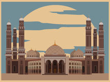 City buildings graphic template. Al Saleh mosque. Yemen. Royalty Free Stock Photography