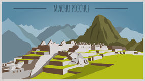 City buildings graphic template. Peru. Machu Picchu Stock Photo