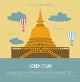City buildings graphic template. Sri Lanka. Buddha`s temple. Stock Photos