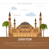 City buildings graphic template. St Sofia Mosque. Royalty Free Stock Photo