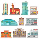 City Buildings Icon Set. Isolated city buildings icon set different heights residential buildings business centers and public buildings vector illustration Stock Images