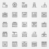 City buildings icon vector set Stock Photos