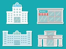 City buildings design. City buildings icons over blue background vector illustration Stock Photography