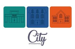 City buildings design. City buildings icons over colorful squares and white background vector illustration Royalty Free Stock Images