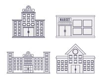 City buildings design. City buildings icons over white background vector illustration Stock Photography
