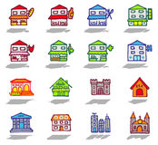 City & buildings icons set. Vector color hand drawn icons with shadow Royalty Free Stock Image