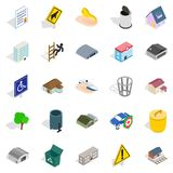 City buildings icons set, isometric style. City buildings icons set. Isometric set of 25 city buildings vector icons for web isolated on white background Stock Photos