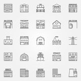 City buildings icons set. Vector collection of linear building and real estate symbols. Hostel, zoo, barbershop, night club signs in thin line style Stock Photo