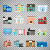 City buildings icons on transparent background. City buildings flat icons isolated on transparent background. Daycare and hotel, courthouse and airport, bus Royalty Free Stock Photo