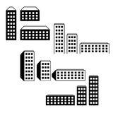 City buildings icons. Vector illustration of city buildings silhouette icons Stock Photos