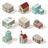 City Buildings Isometric Icons Set. With hospital church and school police and theater mall isolated vector illustration Royalty Free Stock Image