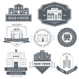 City buildings label template of emblem element. For your product or design, web and mobile applications with text. Vector illustration with thin lines isolated Royalty Free Stock Photos