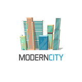 City buildings logo isolated, town construction concept, modern skyscrapers Royalty Free Stock Images