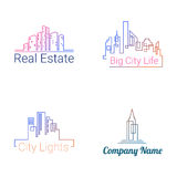 City buildings logo silhouette icons. Vector. City buildings logo colored silhouette icons on white background. Vector Stock Images