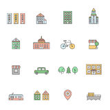 City (buildings) multicolored icons set. Simple outline design. City multicolored icons set. Buildings, houses, trees, transport and pointer. Clean and simple Stock Photo