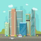 City buildings near road vector, cityscape modern skyscrapers town, urban. City buildings near road vector illustration, cityscape flat style, modern big hight Royalty Free Stock Photo