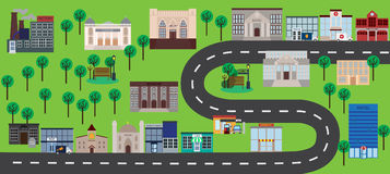 City buildings near road vector illustration. Ecology city concept concept. Flat style design. Colorful graphics Royalty Free Stock Images